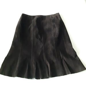 Classiques Entier Brown Leather Flare Skirt 10